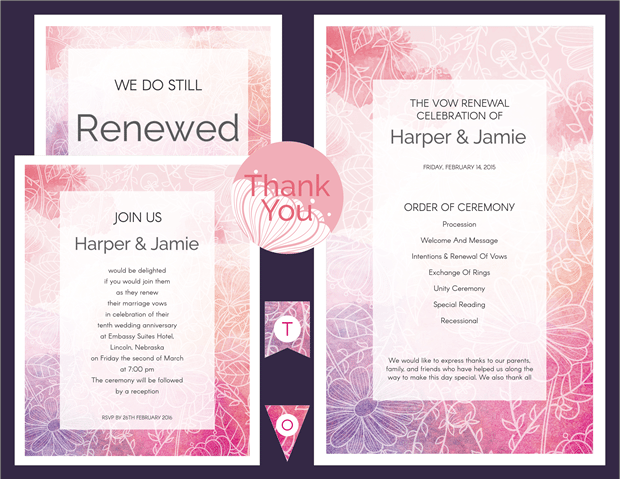 Preview - Pink and Purple Watercolor Sketch Vow Renewal Invitation Suite