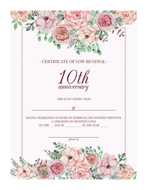 Free printable vintage floral 10th anniversary vow renewal for Wedding anniversary certificate template