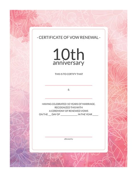 10th-Anniversary Vow Renewal Certificate