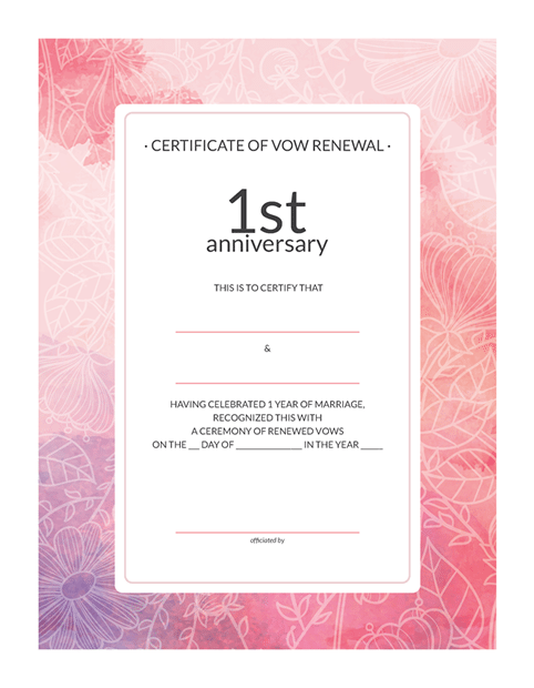 Free printable watercolor 1st anniversary vow renewal certificate stopboris Choice Image