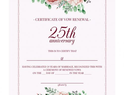 Is it your 25th wedding anniversary renew your vows i for Wedding anniversary certificate template