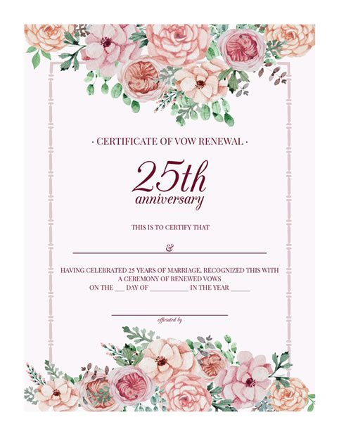 25th-Anniversary Vow Renewal Certificate