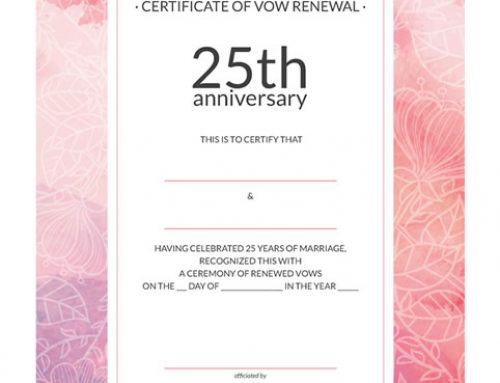 Watercolor 25th-Anniversary Vow Renewal Certificate