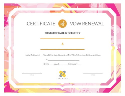 Abstract Pink and Yellow Certificate of Vow Renewal
