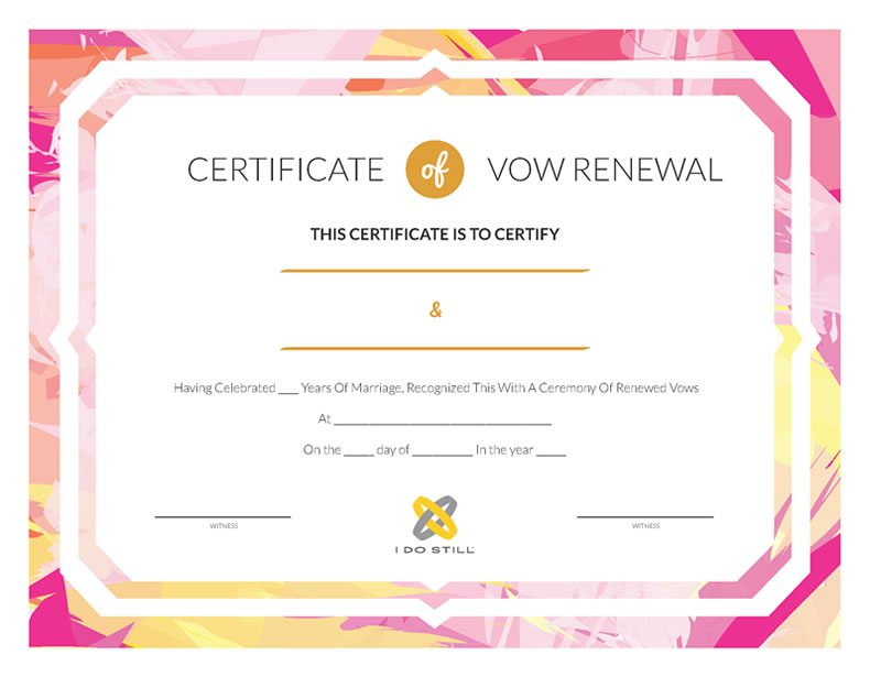 Abstract Pink And Yellow Certificate Of Vow Renewal I Do