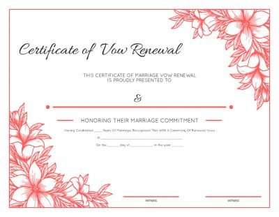 Floral Vow Renewal Certificate