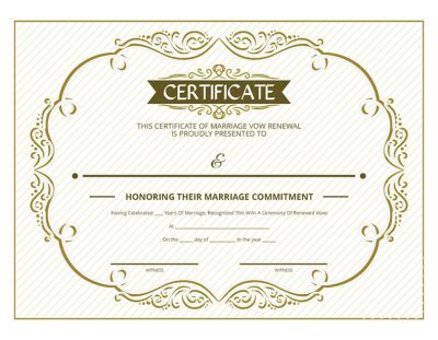 Gold Ornate Vow Renewal Certificate