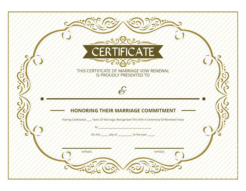 Free printable gold ornate certificate of vow renewal i do still free printable gold ornate certificate of vow renewal yadclub Gallery