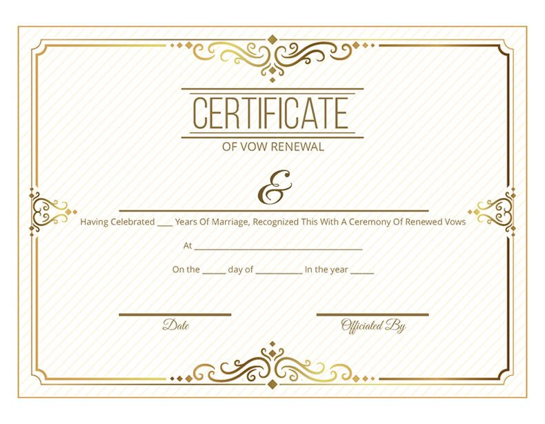 Free printable gold scroll certificate of vow renewal i for Wedding anniversary certificate template