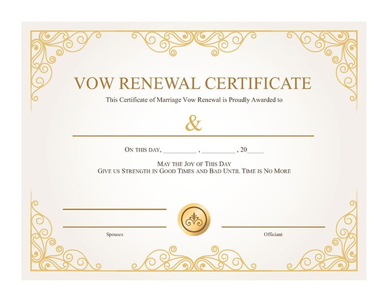 Free Printable Gold Vines Certificate of Vow Renewal
