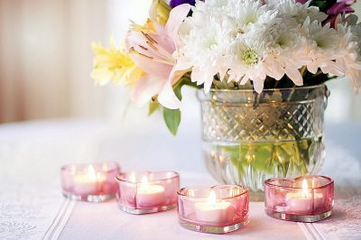 Lily and Chrysanthemum Centerpiece Vow Renewal