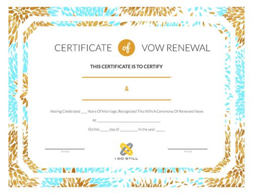 Modern Teal & Gold Certificate of Vow Renewal