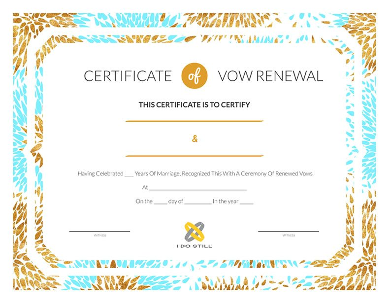 Free Printable Modern Teal & Gold Certificate of Vow Renewal