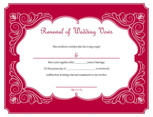 Red Renewal of Wedding Vows Certificate