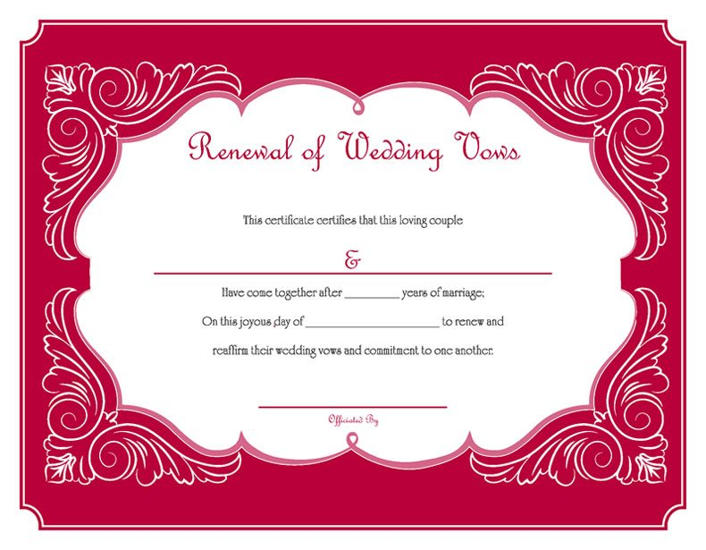 Free Printable Red Renewal Of Wedding Vows Certificate