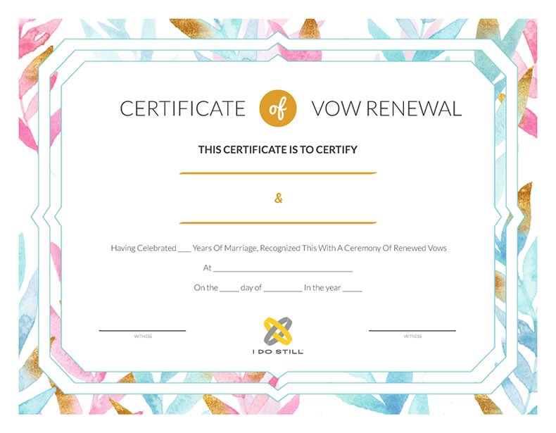 Free Printable Watercolor Leaves Certificate Of Vow