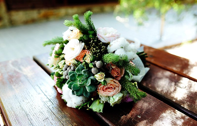 Succulent Bouquet with Pine